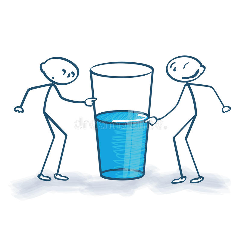 Stick figure with the glass is half full or half empty vector illustration