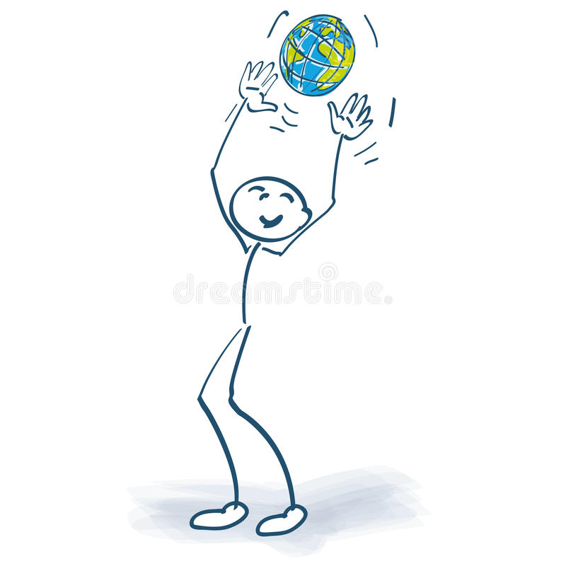 Stick figure with a globe vector illustration