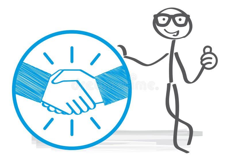 Stick figure handshake illustration stock illustration