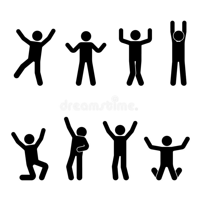 Stick figure happiness, freedom, jumping, motion set. Vector illustration of celebration poses pictogram. Stick figure happiness, freedom, jumping, motion set stock illustration