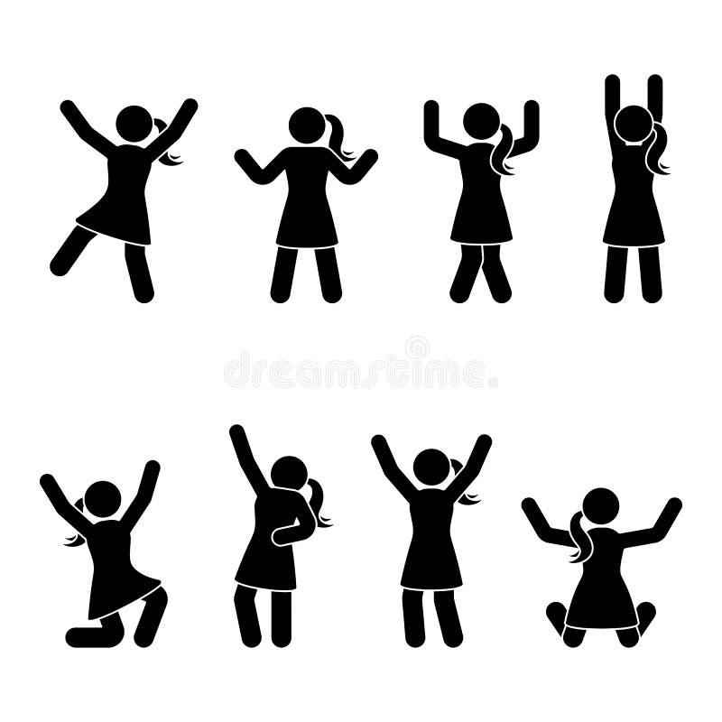 Stick figure happiness, freedom, jumping, motion set. Vector illustration of celebration poses pictogram. Stick figure happiness, freedom, jumping, motion set royalty free illustration