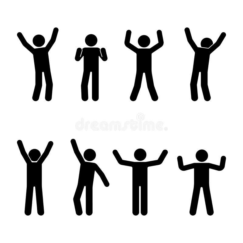 Stick figure happiness, freedom, motion set. Vector illustration of celebration poses pictogram. Stick figure happiness, freedom, motion set. Vector stock illustration