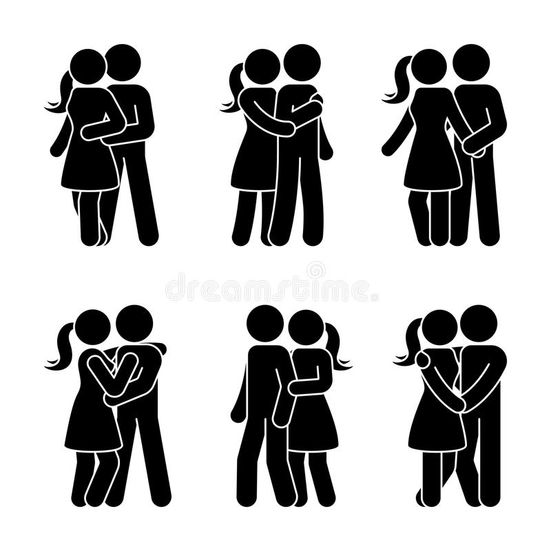 Stick figure happy couple embrace one another. Man and woman in love vector illustration. stock illustration