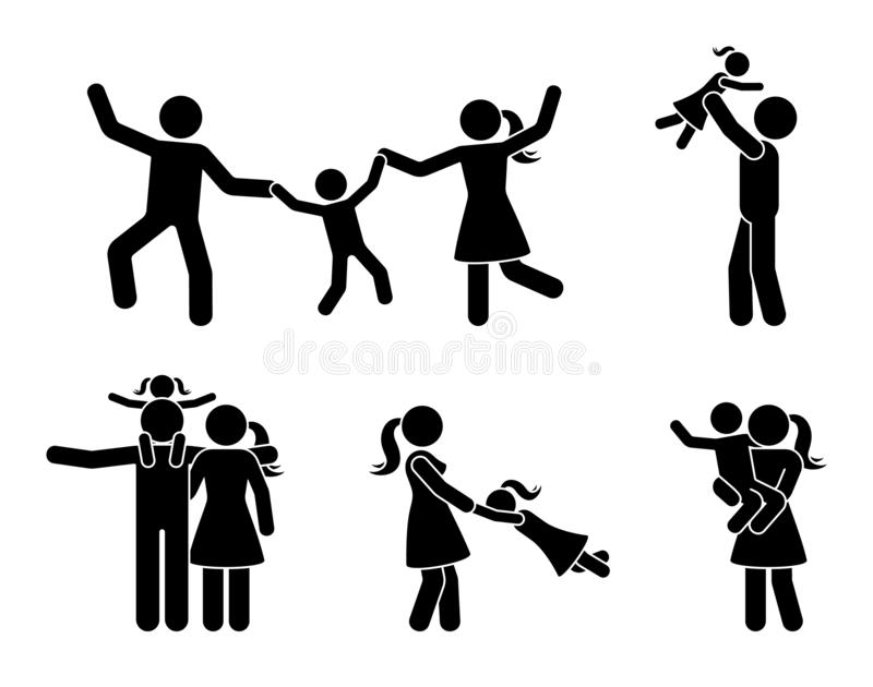 Stick figure happy family having fun icon set. Parents and children playing together pictogram. royalty free illustration