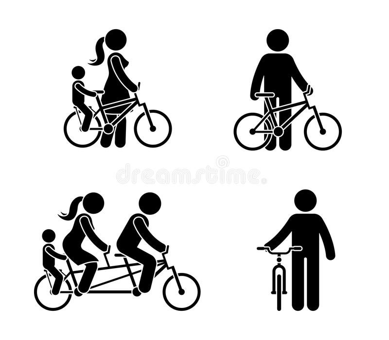 Stick figure happy family riding bike pictogram. Mother, father and child spending time together. stock illustration