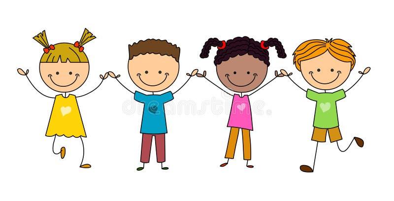 Stick figure happy kids royalty free stock photo