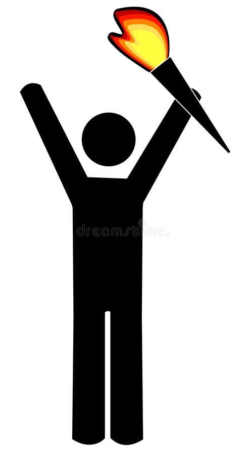Stick figure holding torch