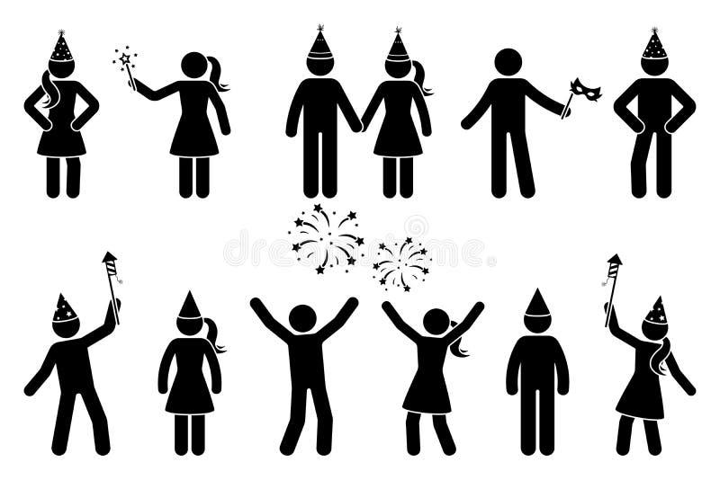 Stick figure homme et femme avec le salut, feux d'artifice de célébration vectorielle icone personnes pictogramme illustration de vecteur