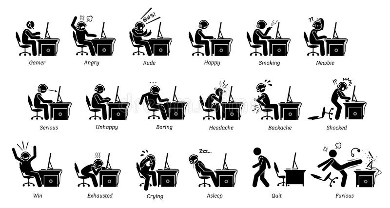 Gamer reactions, feelings, and emotions while playing PC games. Stick figure icons depicts people playing games on computer being angry, happy, rude, serious vector illustration