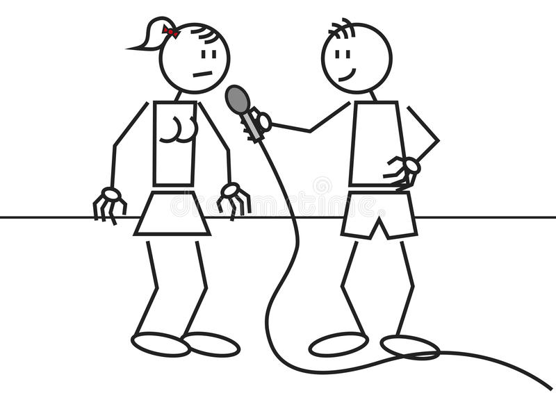 Stick figure interview royalty free illustration