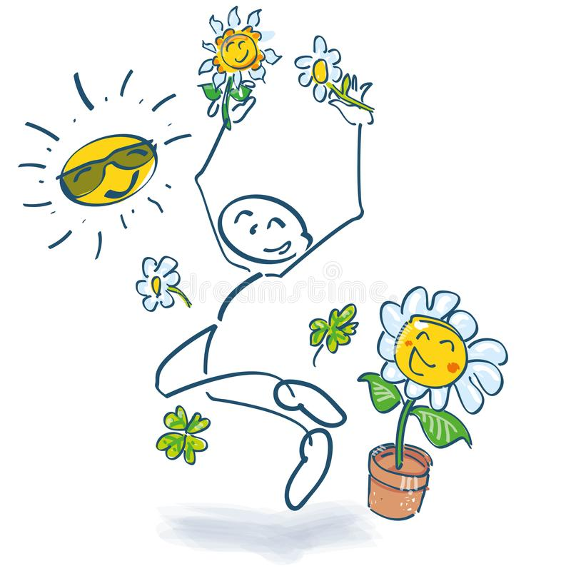 Stick figure and jump into the summer vector illustration