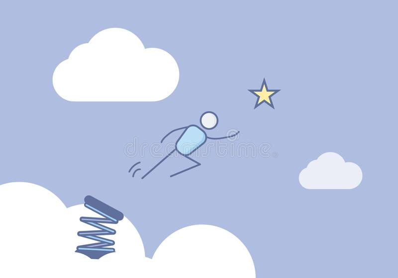 Stick figure jumping in the sky ready to reach the star. Vector illustration for different concepts. Success, dreams, reaching the stars, will power vector illustration