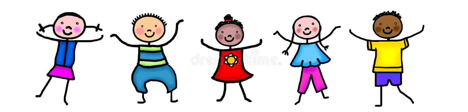 Stick figure kids dancing stock illustration