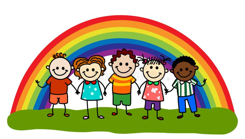 Rainbow kids stock illustration