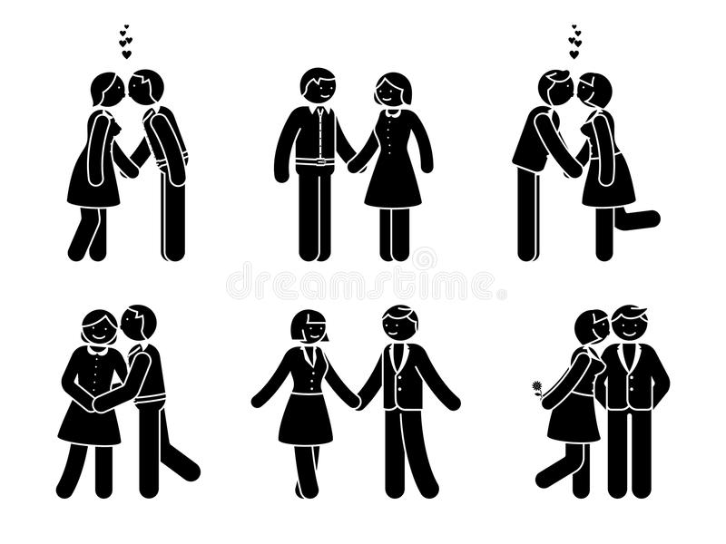 Stick figure kissing couple set. Man and woman in love vector illustration; hugging, cuddling and holding hand pictogram. royalty free illustration