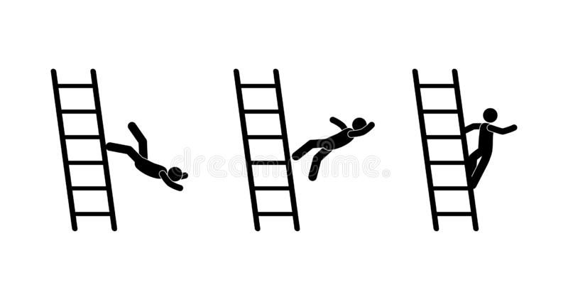 Stick figure ladder icon, man falling from ladder pictogram, human silhouette isolated vector illustration