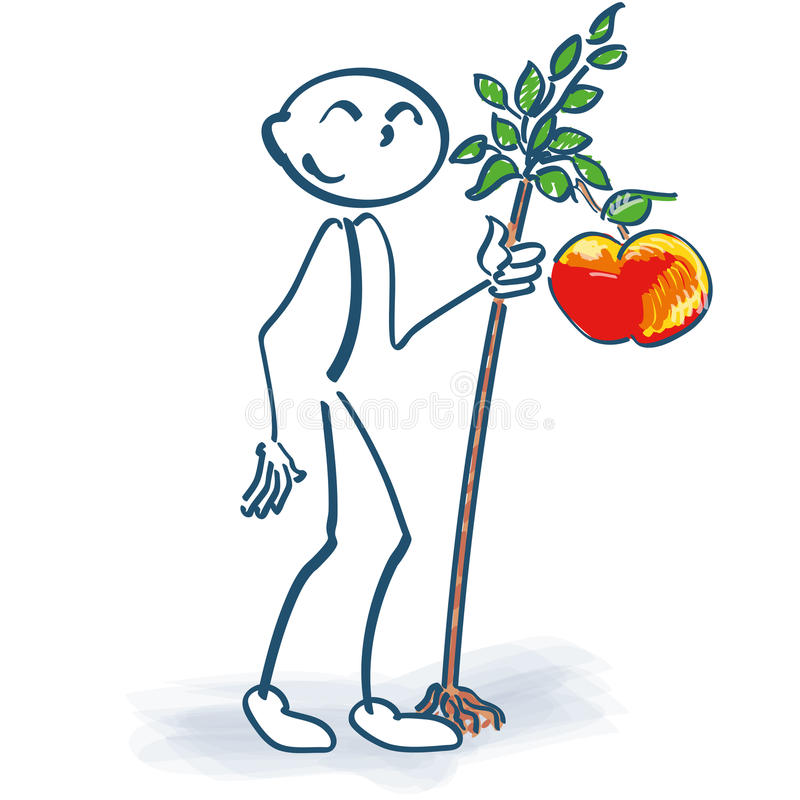 stick figure with a little apple tree stock image image