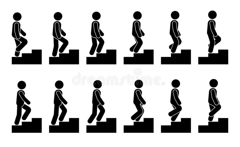 Stick figure male on stairs icon set. Vector man walking step by step sequence pictogram. stock illustration
