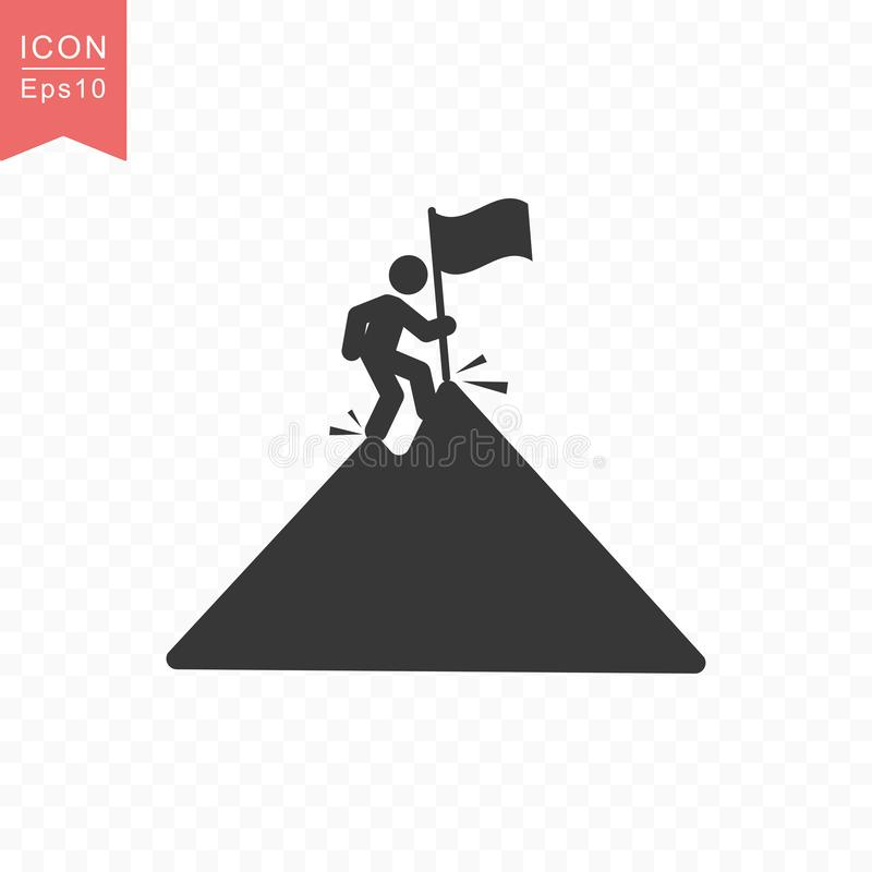 Stick figure a man climbs a mountain peak with a flag silhouette icon simple flat style vector illustration on transparent. Stick figure a man climbs a mountain stock illustration