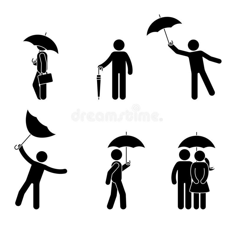 Stick figure man and couple with umbrella icon set. Male under the rain in different positions. vector illustration