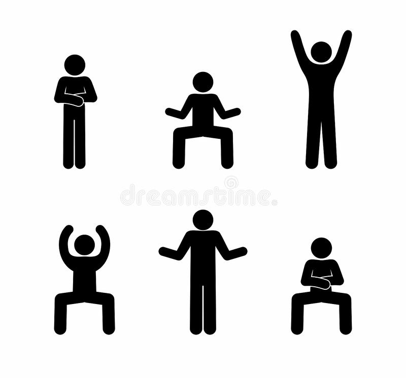 Stick figure man dancing pictogram various poses vector illustration