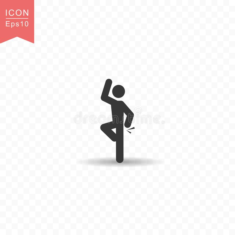 Stick figure a man dancing silhouette icon simple flat style vector illustration on transparent background. Stick figure a man dancing silhouette icon vector illustration