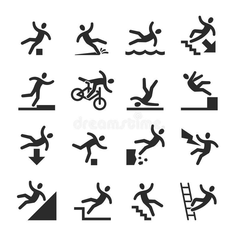Stick figure man falling beware, hazard warning symbols. Person injury at work vector signs isolated. Illustration of figure man, accident and risk vector illustration