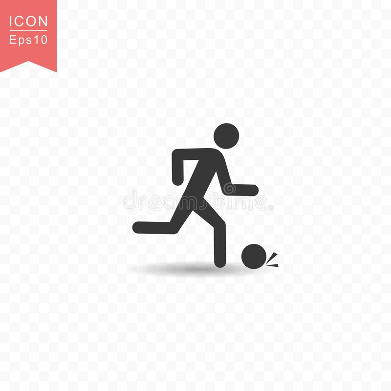 Stick figure a man playing football or soccer silhouette icon simple flat style vector illustration on transparent background. Stick figure a man playing vector illustration