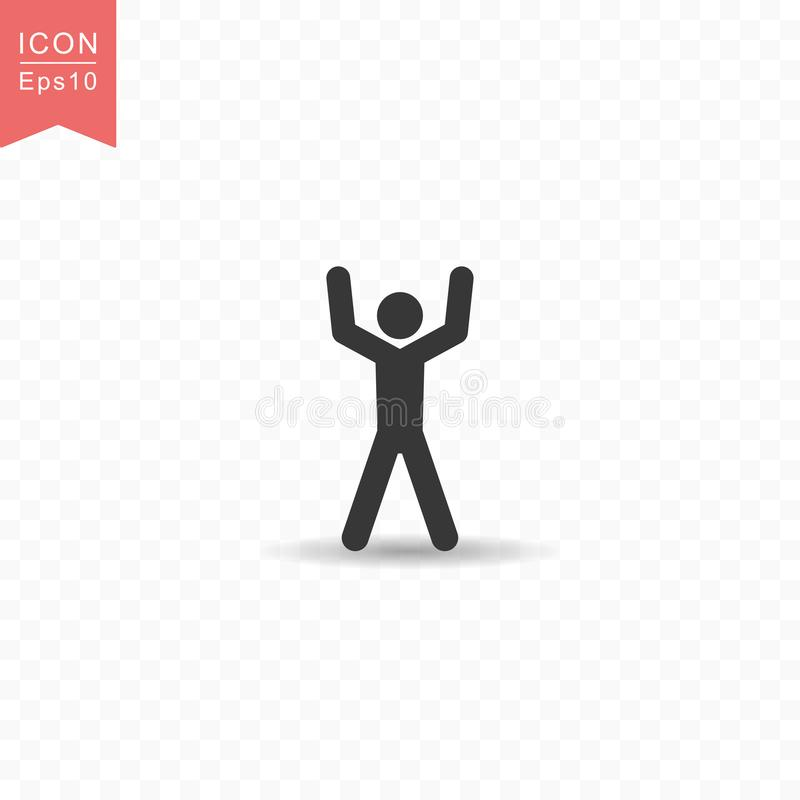 Stick figure a man raises his hand silhouette icon simple flat style vector illustration on transparent background stock illustration