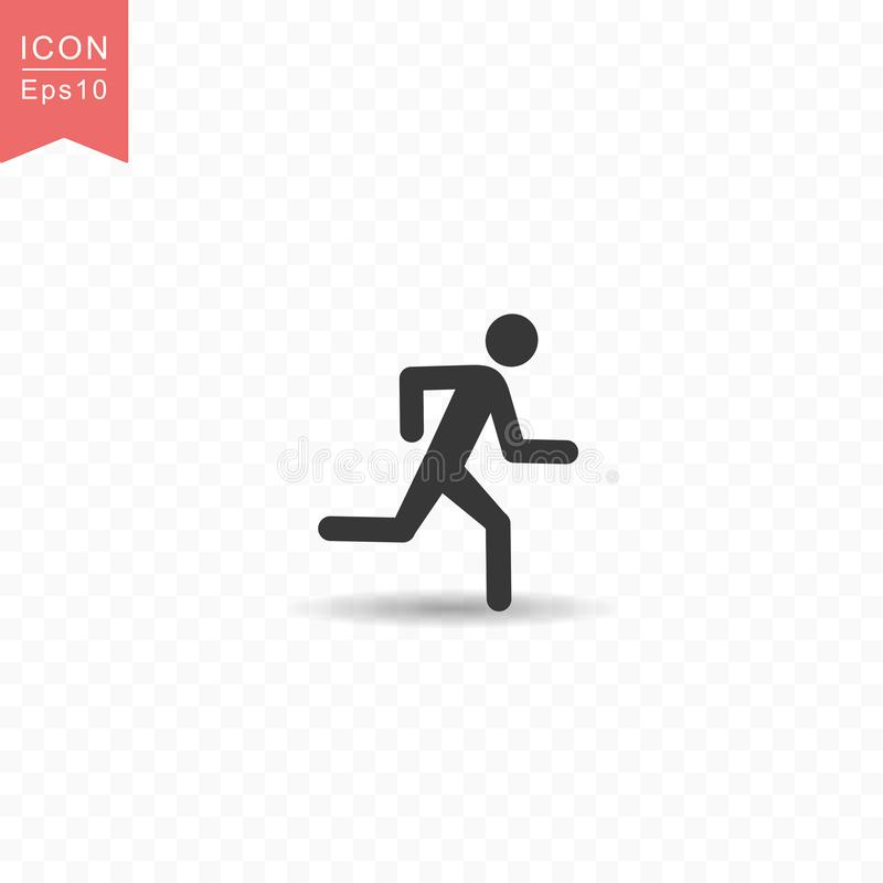 Stick figure a man running silhouette icon simple flat style vector illustration on transparent background. Stick figure a man running silhouette icon vector illustration