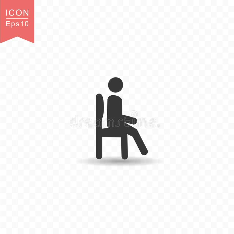 Stick figure a man sitting silhouette icon simple flat style vector illustration on transparent background. Stick figure a man sitting silhouette icon stock illustration
