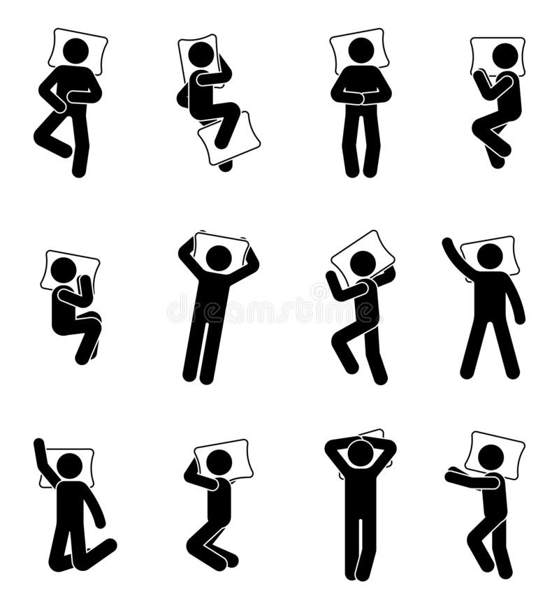 Stick figure man sleeping icon set. Deferent positions single male in bed pictogram. vector illustration