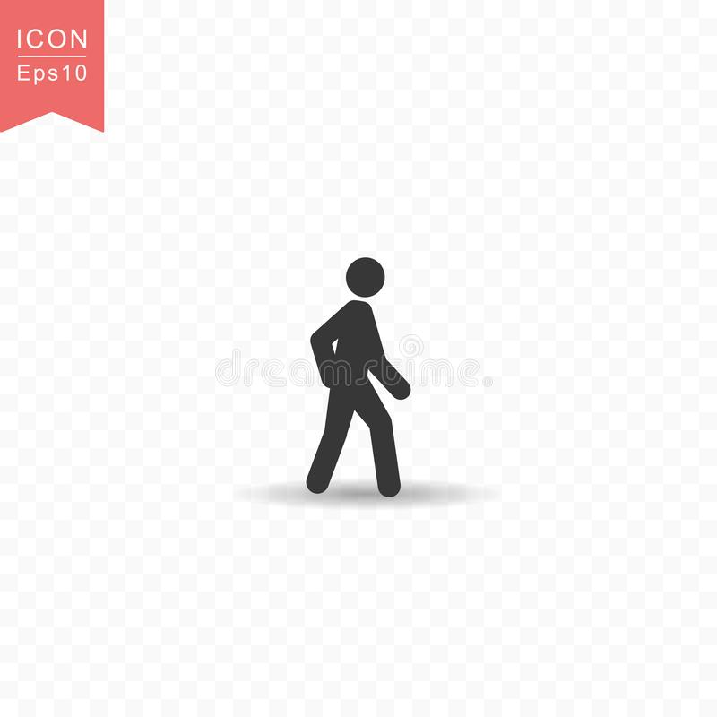 Stick figure a man walking silhouette icon simple flat style vector illustration on transparent background. Stick figure a man walking silhouette icon royalty free illustration