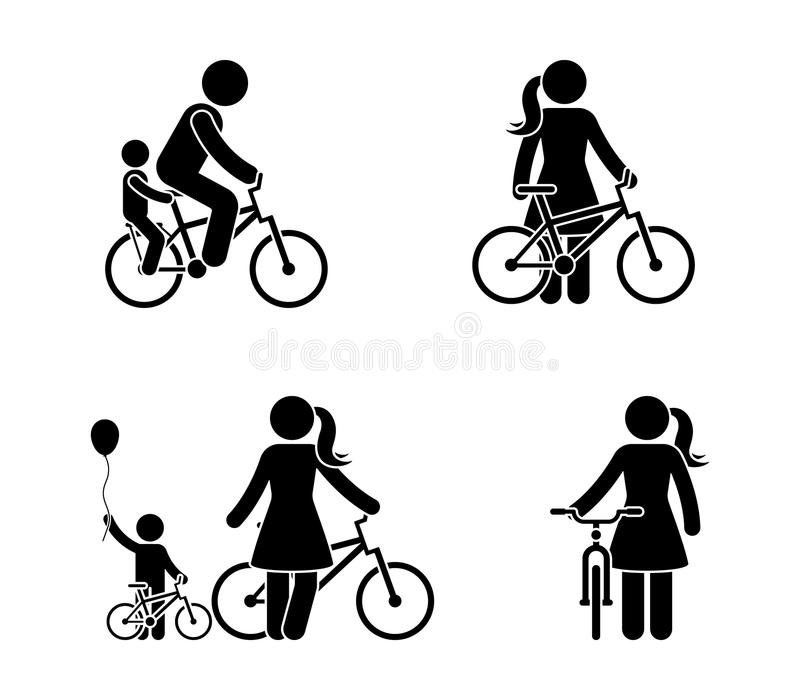 Stick figure man and woman bicycle icon. Riding bike happy people. Stick figure man and woman bicycle icon. Riding bike happy people vector illustration