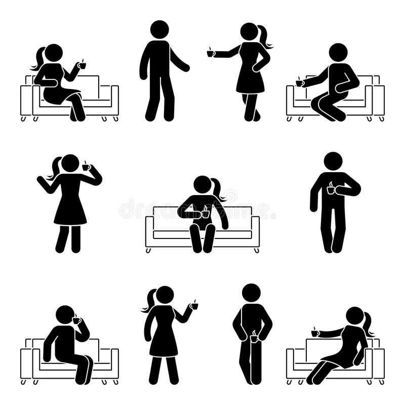 Stick figure man and woman drinking coffee set. Vector illustration of resting people on sofa. Stick figure man and woman drinking coffee set. Vector vector illustration