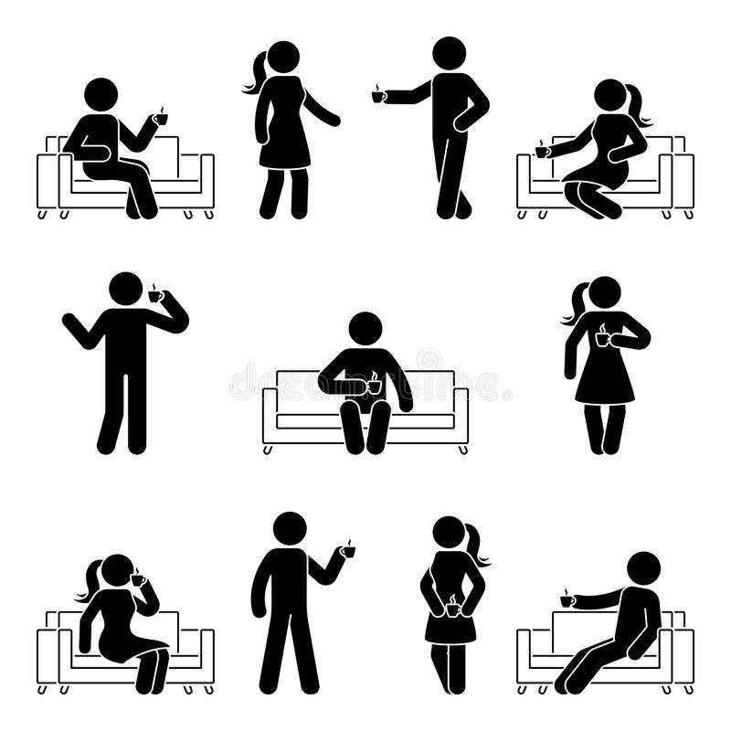 Stick figure man and woman relaxing on sofa set. Vector illustration of drinking coffee pictogram on white. Stick figure man and woman relaxing on sofa set vector illustration