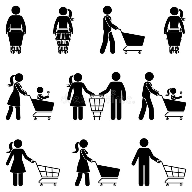 Stick figure man and woman with shopping cart vector icon people pictogram. Happy family in supermarket buying food silhouette. royalty free illustration