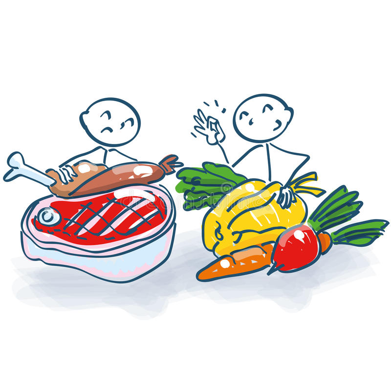 Stick figure with meat and vegetables. And food royalty free illustration