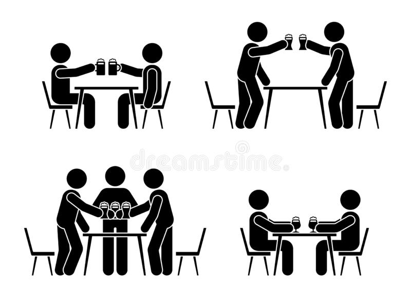 Stick figure men drinking beer icon. Happy celebration of young people pictogram. Stick figure men drinking beer icon. Happy celebration of young people vector illustration