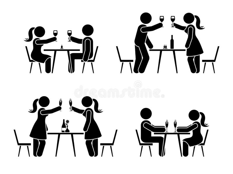 Stick figure men and women drinking wine and champagne icon. Happy celebration of young people pictogram. Stick figure men and women drinking wine and champagne royalty free illustration