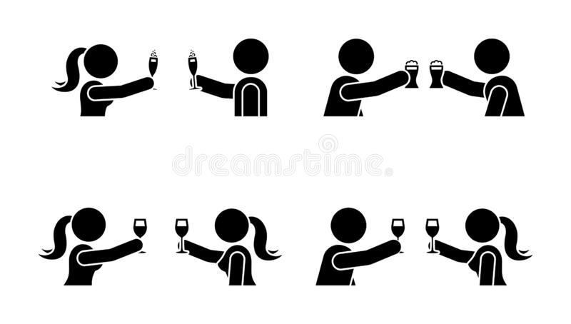 Stick figure men and women making toast with wine, beer, champagne icon. Happy celebration of young people pictogram. Stick figure men and women making toast stock illustration