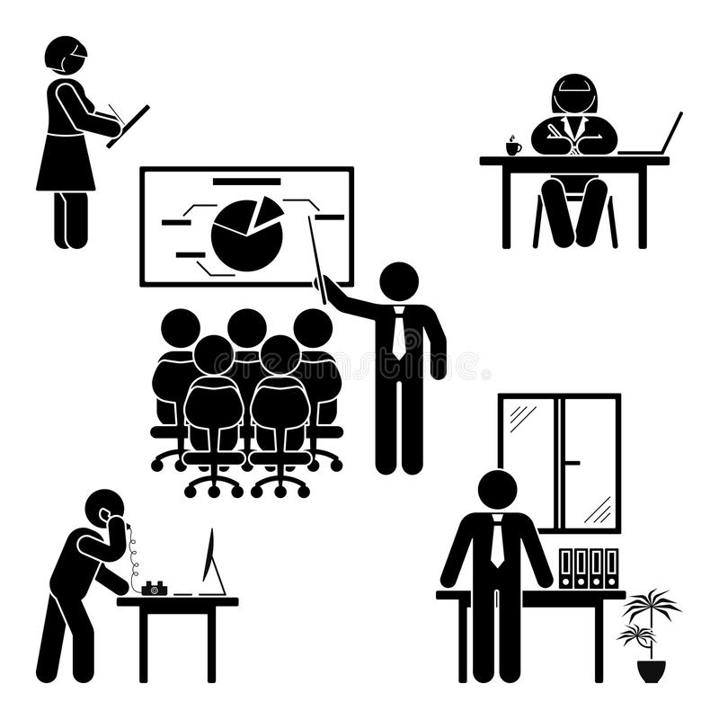 Stick figure office poses set. Business finance workplace support. Working, sitting, talking, meeting, training. vector illustration