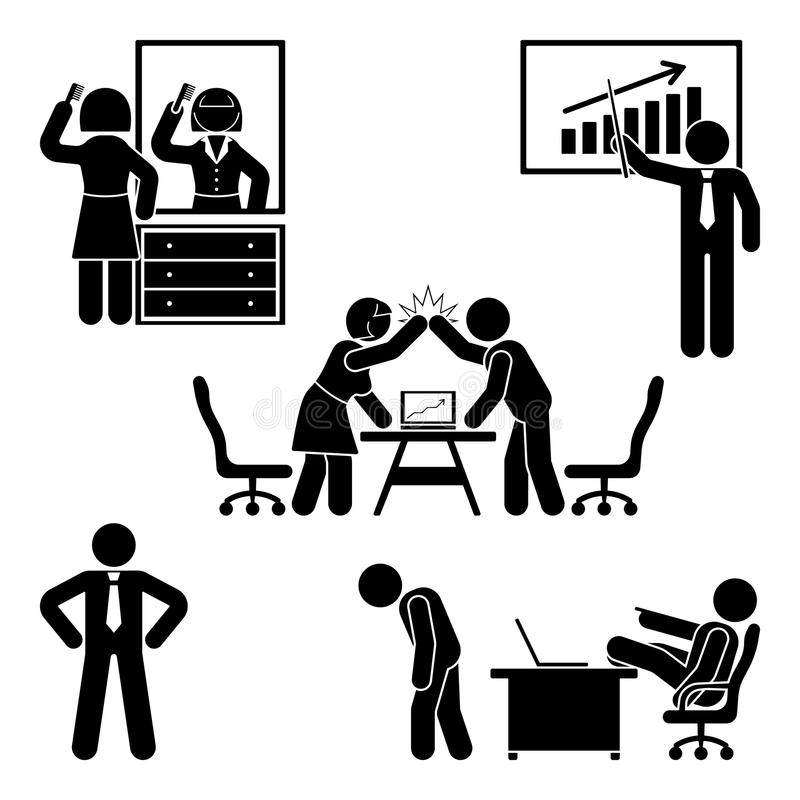Stick figure office working, sitting, talking, meeting, training, discussing vector pictogram. vector illustration