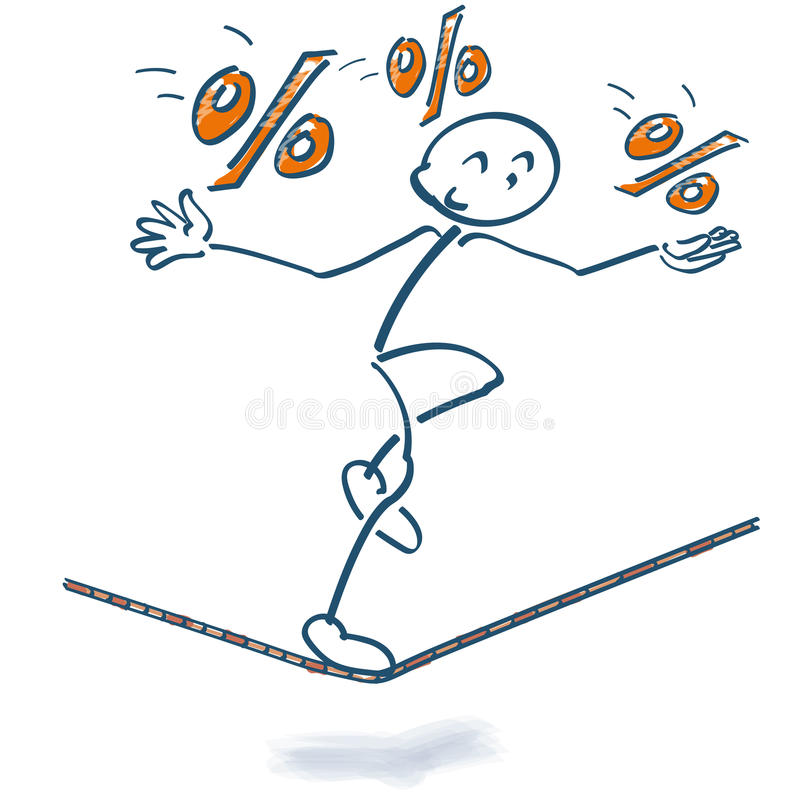 Free Stick Figure On The Rope With Percentages Stock Photo - 88215720