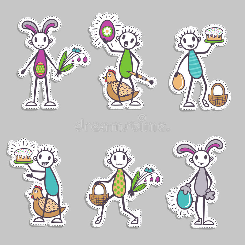Stick figure paper stickers - Easter set or collection, vector royalty free illustration