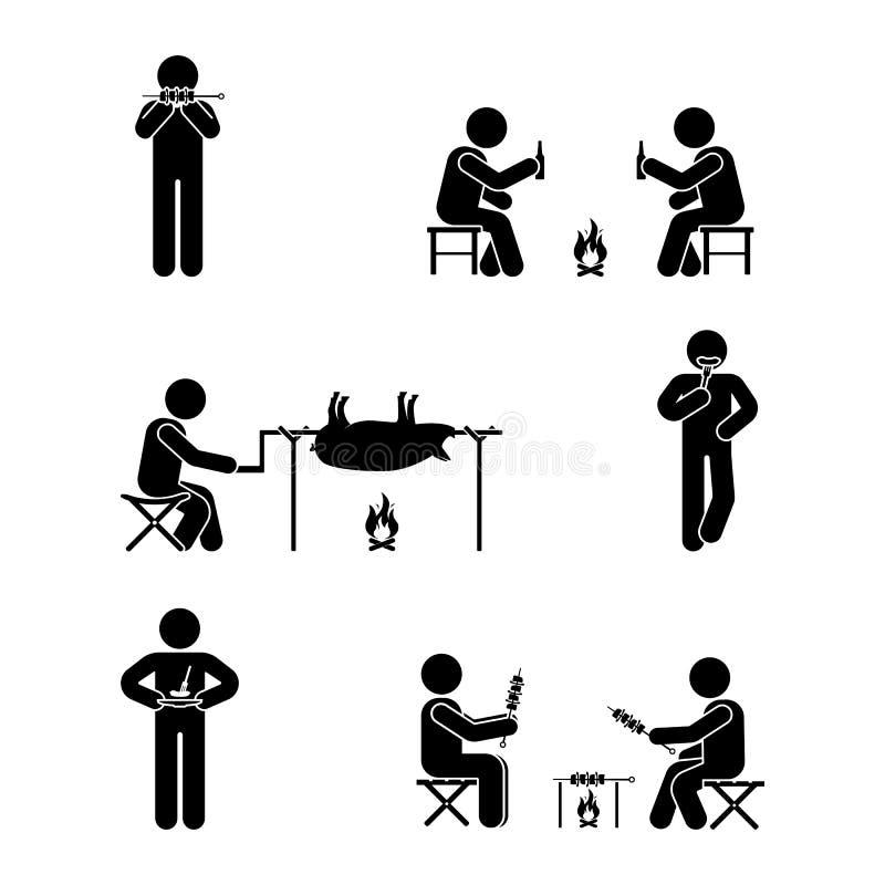 Stick figure picnic set. Vector illustration of barbecue position pictogram. royalty free illustration