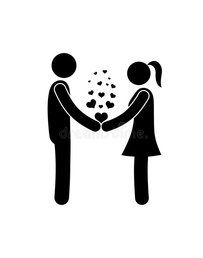 Stick figure pictogram people in love, couple, man and woman stand holding hands, hearts stock illustration
