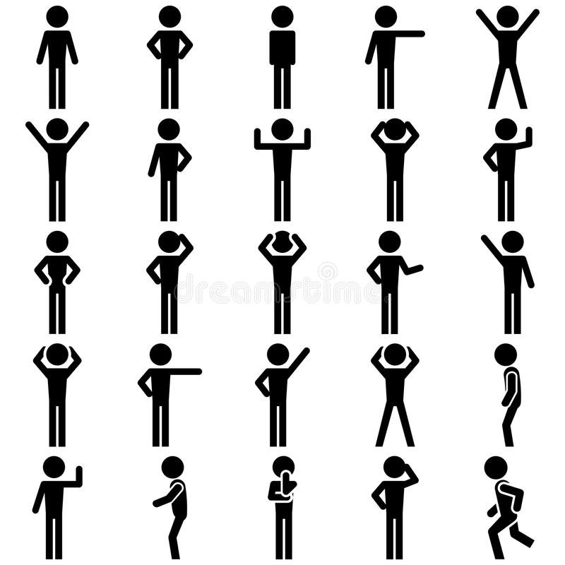 Stick figure positions set vector icon. stock illustration