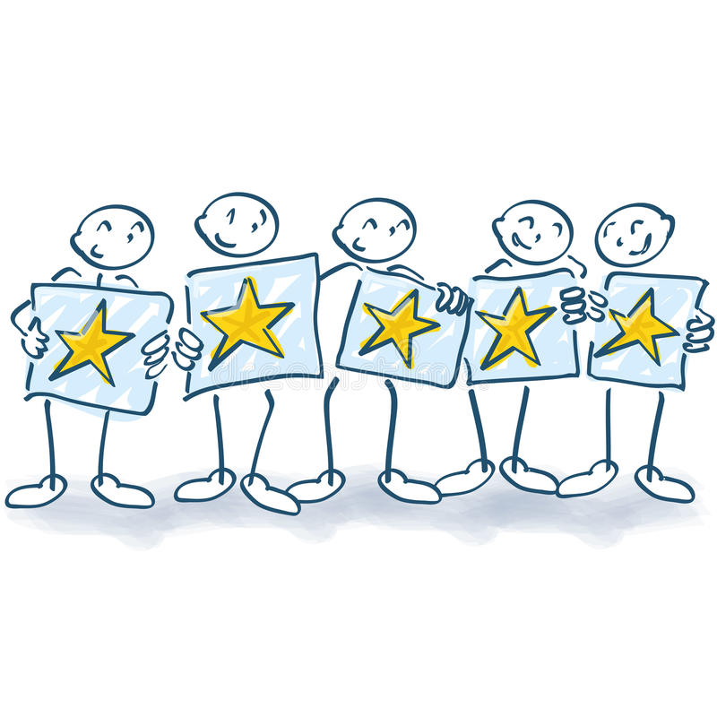 Stick figure with posters and five stars. Stick figure with posters and big five stars royalty free illustration