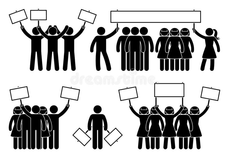 Stick figure protest group of people set. Person with banner at the demonstration strike meeting. royalty free illustration